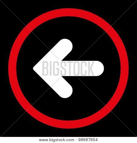 Arrow Left flat red and white colors rounded vector icon