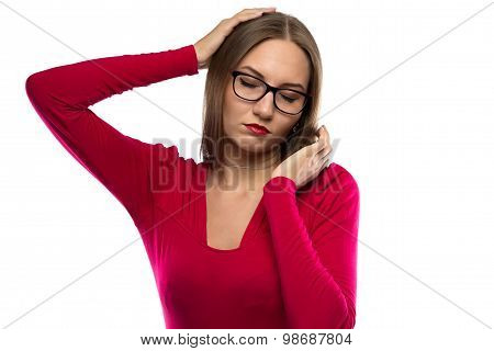 Photo of tired businesswoman in red shirt