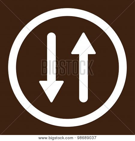 Arrows Exchange Vertical flat white color rounded vector icon