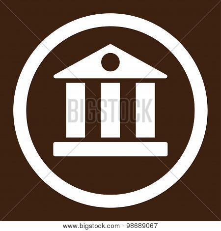 Bank flat white color rounded vector icon