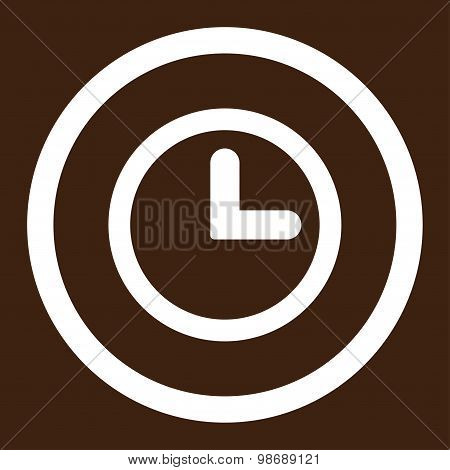 Clock flat white color rounded vector icon