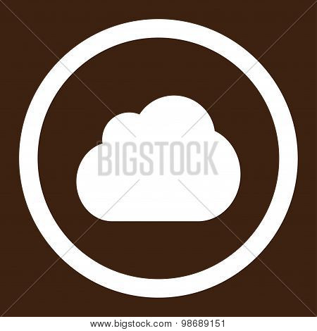 Cloud flat white color rounded vector icon