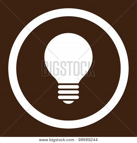 Electric Bulb flat white color rounded vector icon