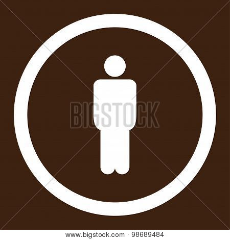 Man flat white color rounded vector icon