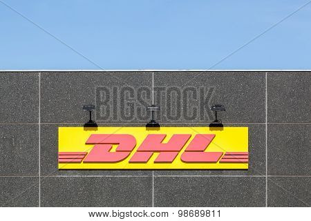 DHL logo on a facade