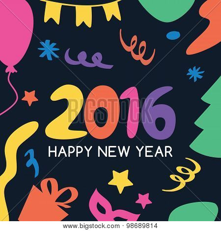 Multicolor Hand Drawn New Year 2016 Greeting Card. Vector Icons Set.
