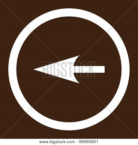 Sharp Left Arrow flat white color rounded vector icon