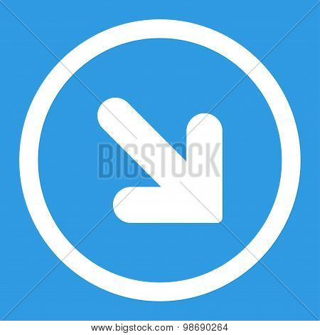 Arrow Down Right flat white color rounded vector icon