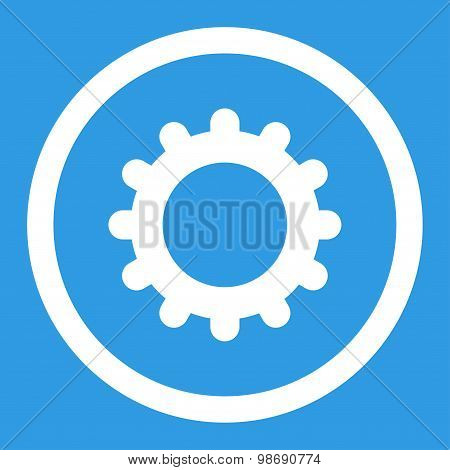 Gear flat white color rounded vector icon