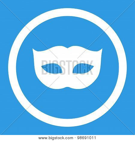 Privacy Mask flat white color rounded vector icon