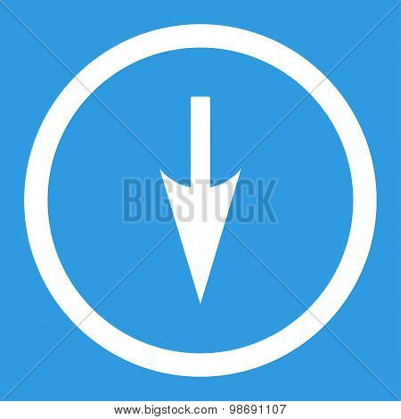 Sharp Down Arrow flat white color rounded vector icon