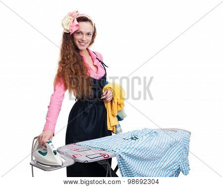 Happy Housewife Ironing