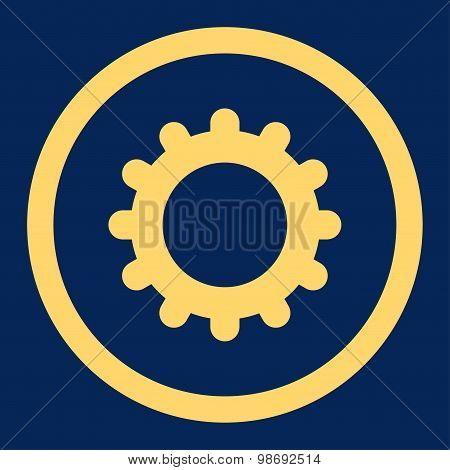 Gear flat yellow color rounded vector icon
