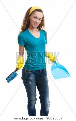 Woman With A Dustpan And Brush