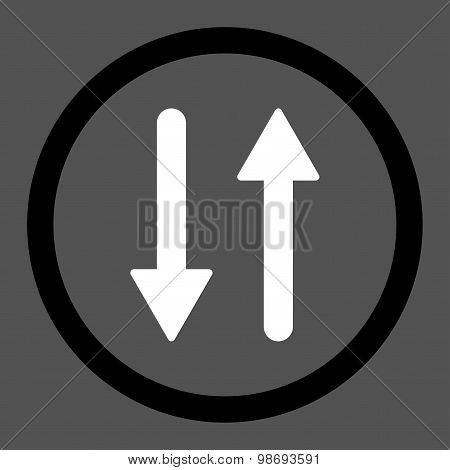 Arrows Exchange Vertical flat black and white colors rounded vector icon