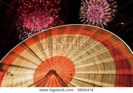 Fireworks And Ferris Wheel