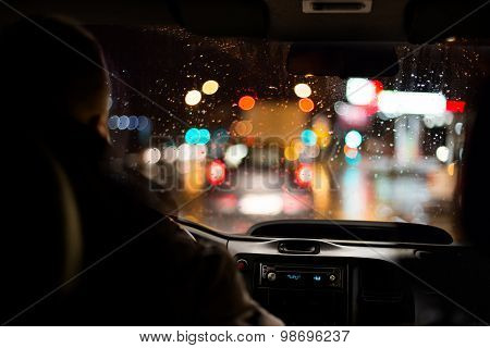 Driving in night scenery.