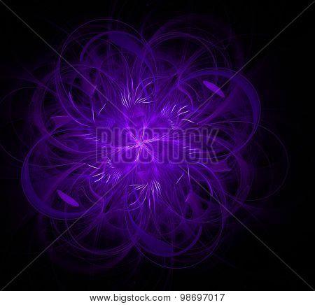 Fractal Flower Ribbons Purple