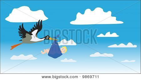 Stork With The Child