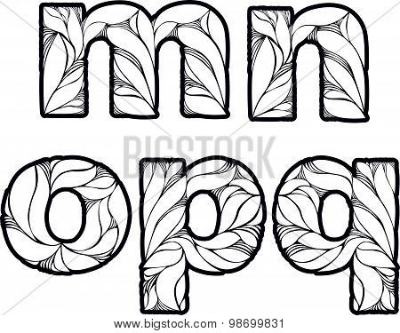 Vintage ornamental beautiful font, typeset with floral elegant ornament. M, n, o, p, q, small letter