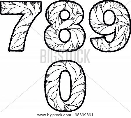 Single color ornate beautiful vector digits, numbers with eco floral ornament. 7, 8, 9, 0.