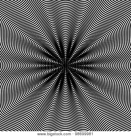 Moire pattern, monochrome background with trance effect. Optical illusion, creative black and white