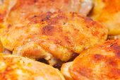 image of thighs  - Roasted chiken thighs with skin and spices with tasty crust at 15 Mps horizontal full frame - JPG