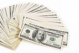 pic of 100 dollars dollar bill american paper money cash stack  - Background with money american hundred dollar bills - JPG