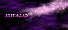 picture of merge  - Wide purple swirling lines background with the word MIRACLES on left side and glittering sparkles merging with the word - JPG
