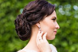 pic of wedding  - Beautiful bride in wedding dress and bridal bouquet - JPG