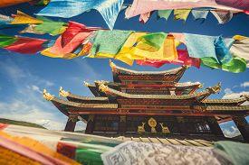 stock photo of tibetan  - Old Tibetan monastery at Shangri - JPG