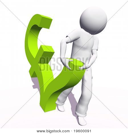 High resolution conceptual 3D human carrying a green pound symbol, isolated on white background.It is a metaphor ideal for business or banking design