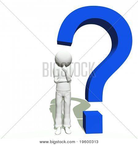 High resolution conceptual 3D human thinking near a 3D blue question mark