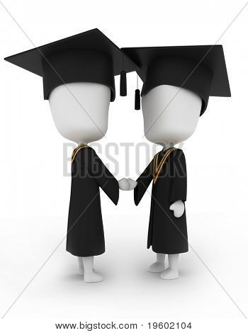 3D Illustration of Graduates Shaking Hands
