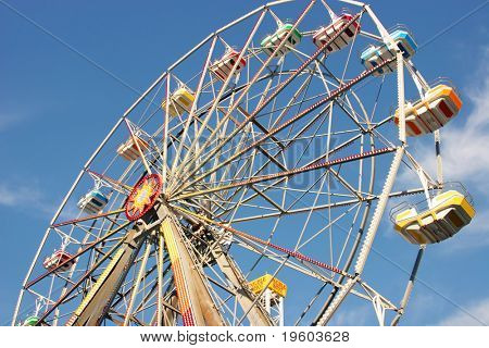 ferris wheel with blue sky background