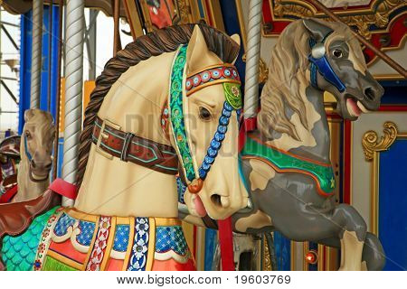 Carousel horse ride at a amusemnent park