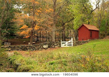 Scenic landscape of old country style farm