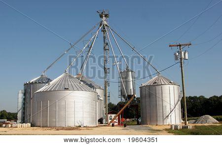 Large grain silos on farm