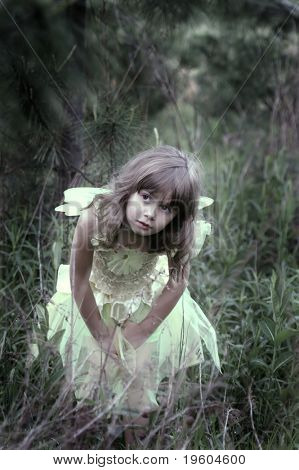 A young girl in a forest wearing a fairy costume, soft-focus and slight color desaturation and vignetting
