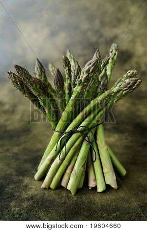 A still life of asparagus on a textured background