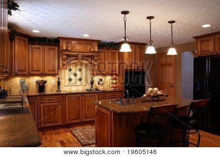 An interior of a beautiful custom kitchen