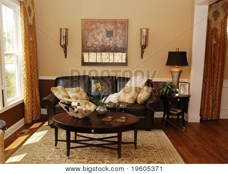 A traditional interior of a living room