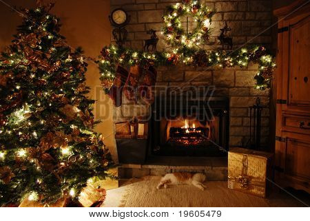 A warm cozy room with a fireplace,(low-light)