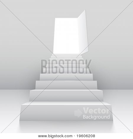 White staircase to open door. Vector illustration