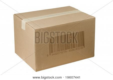 Shipping Cardboard Box Whit Barcode