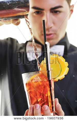 young barman portrait isolated on white background with alcohol coctail drink