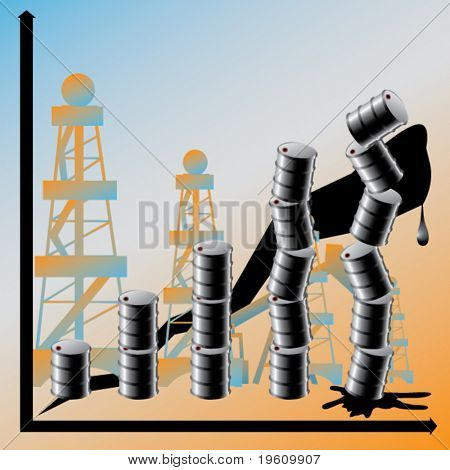 A price advance on oil conduces to the global crisis. Vector.