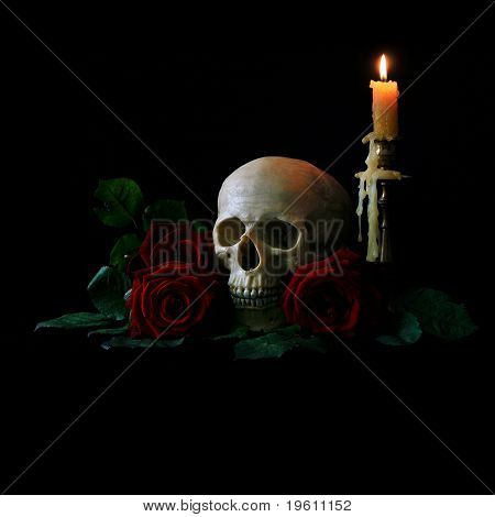 Skull with roses and candle