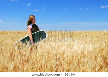 Prairie Boarder Girl In Wheatfield