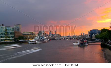 London Thames Sunset From Tower Bridge